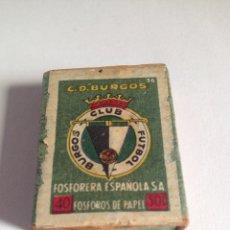 Coleccionismo deportivo: CAJA DE CERILLAS DE BURGOS CLUB DE FÚTBOL. Lote 93265179