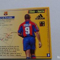 Coleccionismo deportivo: VIRTUAL CARDS F.C.BARCELONA MUNDO DEPORTIVO GOL RONALDO, BARÇA - REAL SOCIEDAD LIGA 96-97, 1996-1997. Lote 94464102