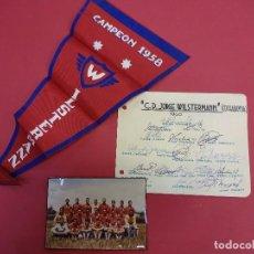 Coleccionismo deportivo: JORGE WILSTERMANN. CAMPEON DE BOLIVIA. LOTE FOTO + BANDERÍN + AUTÓGRAFOS ORIGINALES. AÑOS 1960. Lote 99546807