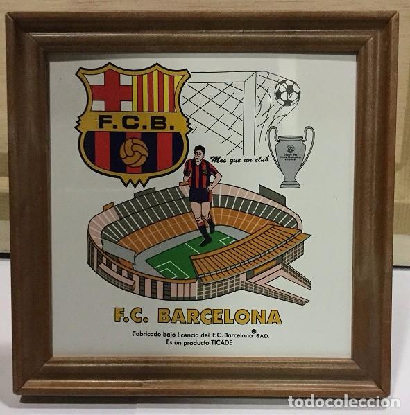CUADRO DE PVC CON AZULEJO DE 15X15 DEL F.C. BARCELONA 4 MODELOS DIFERENTES (Coleccionismo Deportivo - Merchandising y Mascotas - Futbol)