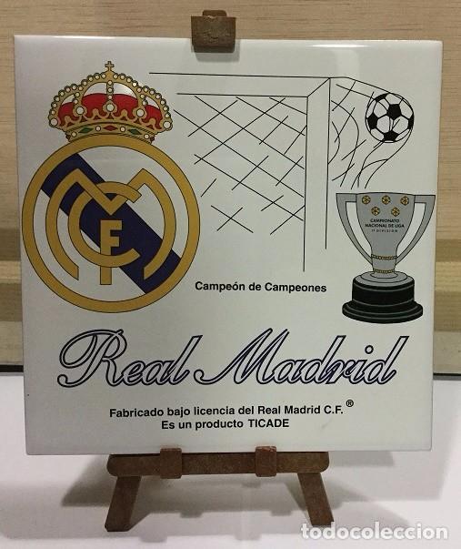 AZULEJO DE 15X15 CON TRIPODE DE PVC DEL REAL MADRID 4 MODELOS DIFERENTES (Coleccionismo Deportivo - Merchandising y Mascotas - Futbol)