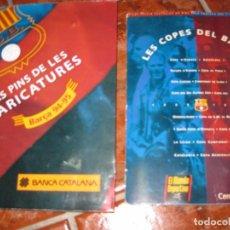 Coleccionismo deportivo: 2 CARPETA CON 19 PINS DE LES CARICATURES DEL BARÇA 94 - 95 Y LES COPES DEL BARÇA. MUNDO DEPORTIVO. Lote 104544135