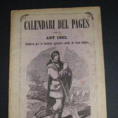 Coleccionismo deportivo: (TC-108) INTERESANTE PIEZA CALENDARI DE PAGES 1862. Lote 112065067