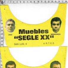 Coleccionismo deportivo: LOTE 2 VISERAS PUBLICIDAD MUEBLES SEGLE XX ARTES IMAGEN FUTBOLISTAS AÑOS 70 DIAZ-MENDOÇA-AMANCIO.. Lote 114720399