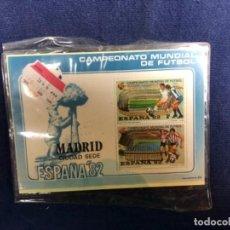 Coleccionismo deportivo: SELLOS ESPAÑA 82 CAMPEONATO MUNDIAL DE FÚTBOL MADRID CIUDAD SEDE HOJA FILATÉLICA CIUDADES 11X14,5CMS. Lote 115069103