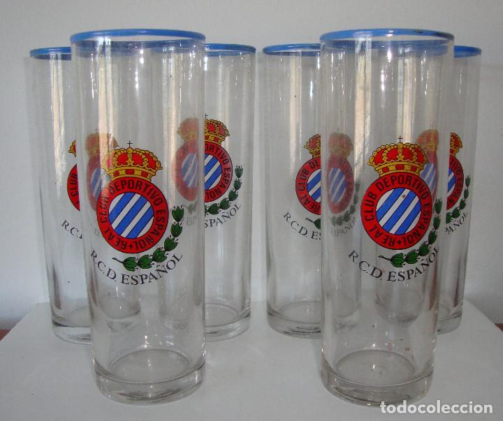 MUY DIFICIL LOTE DE 6 VASOS DE TUBO REAL CLUB DEPORTIVO ESPAÑOL AÑOS 70 - 80 (Coleccionismo Deportivo - Merchandising y Mascotas - Futbol)