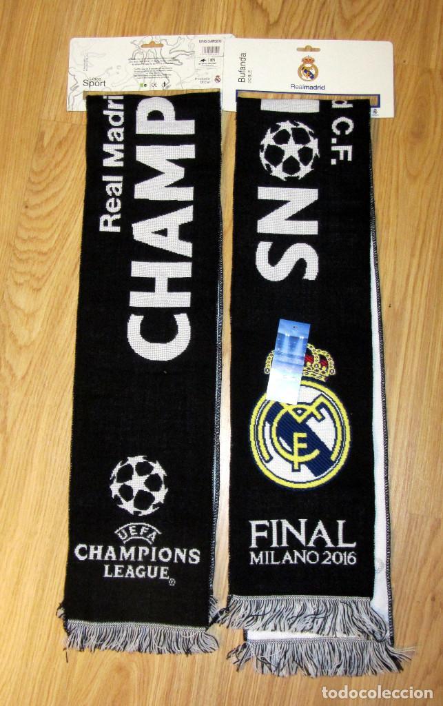 BUFANDA FUTBOL SCARF FOOTBALL UEFA CHAMPIONS LEAGUE REAL MADRID MILANO 2016 (Coleccionismo Deportivo - Merchandising y Mascotas - Futbol)