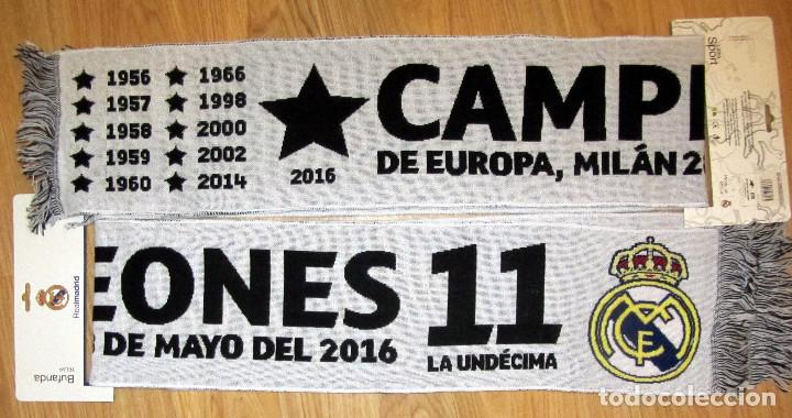 BUFANDA FUTBOL SCARF FOOTBALL UEFA CHAMPIONS LEAGUE REAL MADRID MILANO 2016  (Coleccionismo Deportivo - Merchandising 99012734300