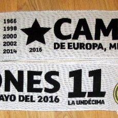 Coleccionismo deportivo: BUFANDA FUTBOL SCARF FOOTBALL UEFA CHAMPIONS LEAGUE REAL MADRID MILANO 2016. Lote 116567971