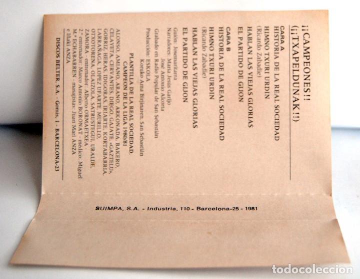 Coleccionismo deportivo: CAMPEONES TXAPELDUNAK HISTORIA DE LA REAL SOCIEDAD HIMNO TXURI URDIN HABLAN LAS VIEJAS GLORIAS GIJON - Foto 2 - 117305571