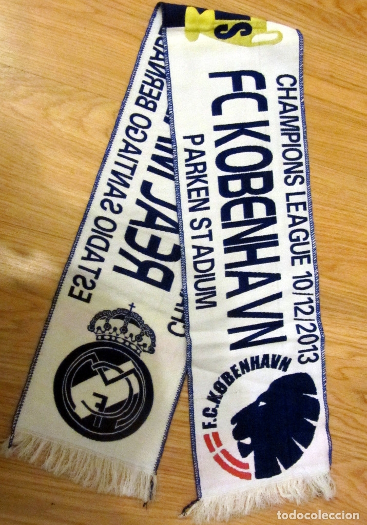Coleccionismo deportivo: BUFANDA FUTBOL MATCH DAY SCARF FOOTBALL UEFA CHAMPIONS LEAGUE REAL MADRID FC. KOBENHAVN COPENHAGUE - Foto 1 - 82209180
