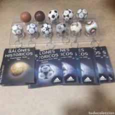 Coleccionismo deportivo: COLECCIÓN COMPLETA 11 LLAVEROS BALONES HISTÓRICOS FÚTBOL ADIDAS. Lote 121393326