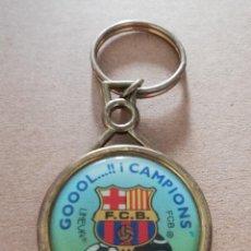 Coleccionismo deportivo: LLAVERO LINEVA EN METAL Y PLÁSTICO: GOOOOL...!! I CAMPIONS - FC BARCELONA - (PESO: 26 GRAMOS). Lote 133579854