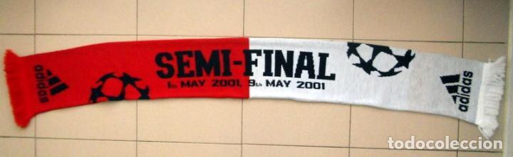 BUFANDA SEMIFINAL CHAMPIONS LEAGUE 2001 REAL MADRID - BAYERN MUNICH - MATCH DAY SCARF - OFICIAL (Coleccionismo Deportivo - Merchandising y Mascotas - Futbol)
