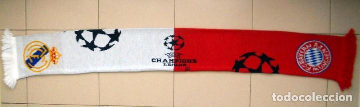 Coleccionismo deportivo: BUFANDA SEMIFINAL CHAMPIONS LEAGUE 2001 REAL MADRID - BAYERN MUNICH - MATCH DAY SCARF - OFICIAL - Foto 2 - 134000818