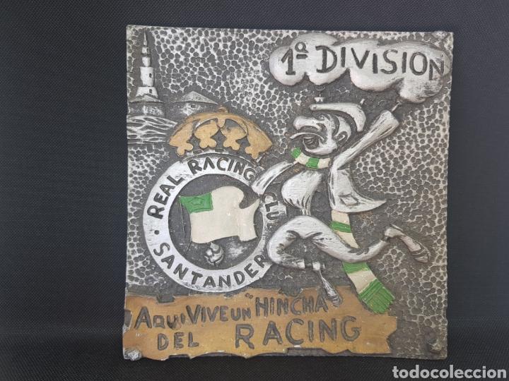 ANTIGUO AZULEJO - AQUI VIVE UN HINCHA DEL RACING DE SANTANDER - CAR55 (Coleccionismo Deportivo - Merchandising y Mascotas - Futbol)