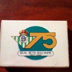 Coleccionismo deportivo: VENDO CAJA DE CERILLAS DEL 75 ANIVERSARIO DEL REAL BETIS BALOMPIÉ, (MAS INFORMACIÓN Y FOTOS).. Lote 138150614