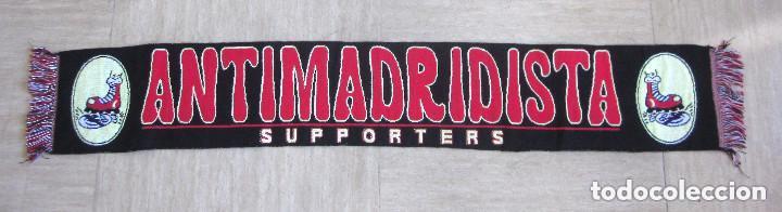 BUFANDA ANTIMADRIDISTA GRANDE ULTRA FÚTBOL SUPPORTERS 126 CM LARGO NEGRA ROJA (Coleccionismo Deportivo - Merchandising y Mascotas - Futbol)