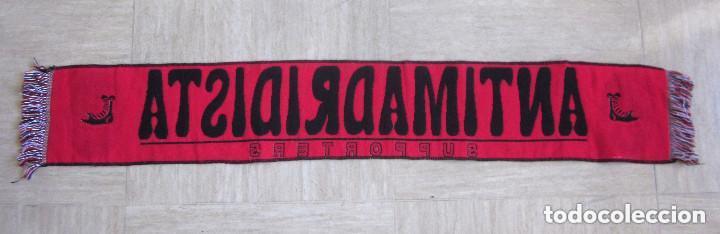 Coleccionismo deportivo: Bufanda Antimadridista grande Ultra Fútbol Supporters 126 cm largo negra roja - Foto 3 - 139155670