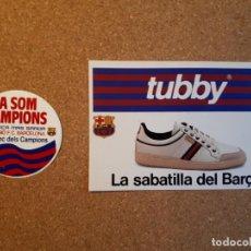Coleccionismo deportivo: F.C. BARCELONA. DOS PEGATINAS PROMOCIONALES: BANCA MAS SARDÀ Y SABATILLA TUBBY. Lote 140746990