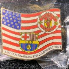 Coleccionismo deportivo: PING INSIGNIA PARTIDO ESTADOS UNIDOS MANCHESTER FUTBOL CLUB BARCELONA FC BARCELONA CF BARÇA F.C . Lote 147421742