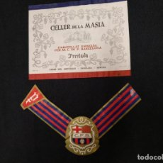 Coleccionismo deportivo: 2 ETIQUETAS CAVA - C.F. BARCELONA - CELLER DE LA MASIA - PERELADA. Lote 155353530