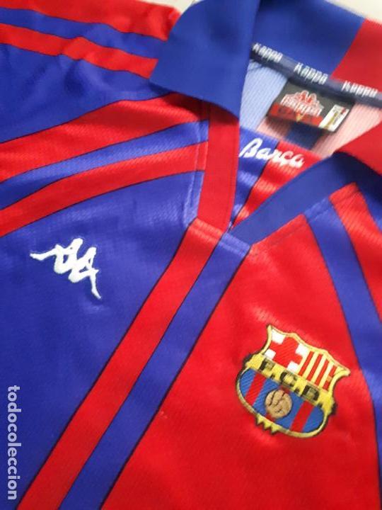 Coleccionismo deportivo: equipacion ( camiseta y pantalon ) kappa f.c. barcelona Supercopa de Europa 1997 Stoichkov - Foto 3 - 255982315