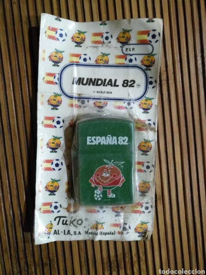 MECHERO NARANJITO VERDE MUNDIAL 82 FÚTBOL 1982 TUKO ZIPO ESPAÑA (Coleccionismo Deportivo - Merchandising y Mascotas - Futbol)