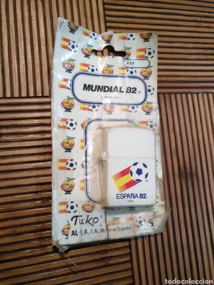 MECHERO NARANJITO BLANCO MUNDIAL 82 FÚTBOL 1982 TUKO ZIPO ESPAÑA, !!ABIERTO¡¡ (Coleccionismo Deportivo - Merchandising y Mascotas - Futbol)