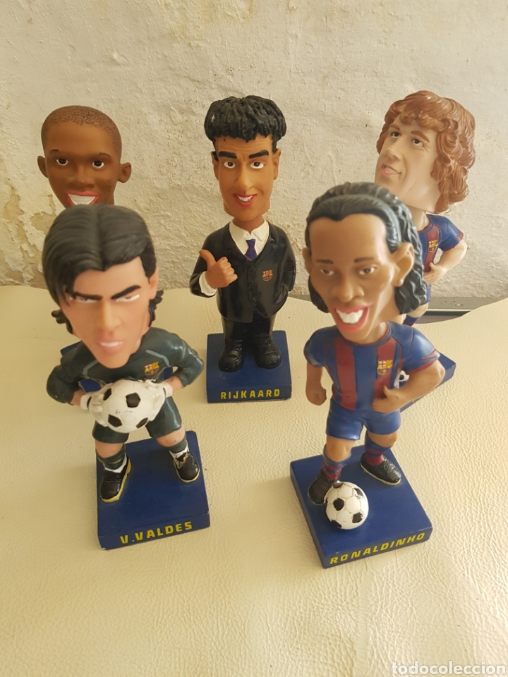 LOTE BOBBLE HEADS FUTBOL CLUB BARCELONA ETO'O PUYOL RONALDINHO RIJKAARD V.VALDES SPORT OFICIAL (Coleccionismo Deportivo - Merchandising y Mascotas - Futbol)