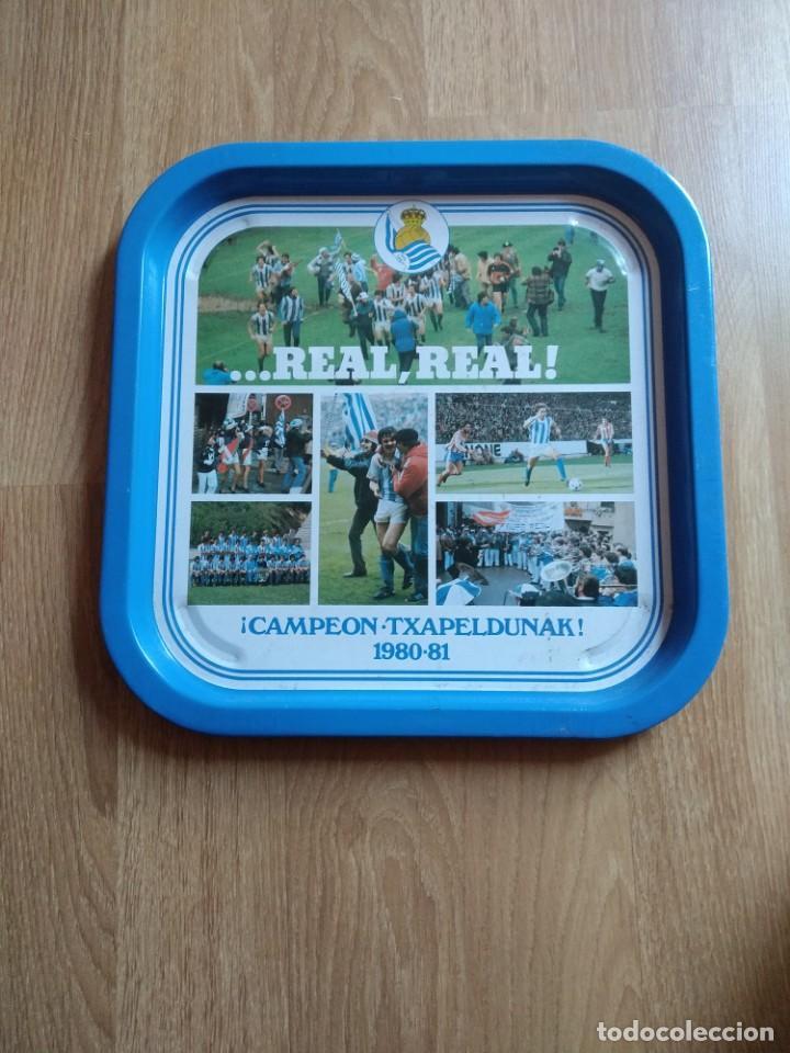 BANDEJA REAL SOCIEDAD TXAPELDUNAK 1980.81 (Coleccionismo Deportivo - Merchandising y Mascotas - Futbol)