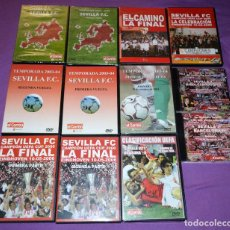 Coleccionismo deportivo: LOTE DVDS Y CDS SEVILLA F.C. UEFA, SUPERCOPA EUROPA, GOLES, DERBI, CELEBRACIONES, ETC.. Lote 167192036