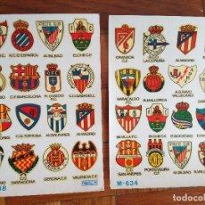 Coleccionismo deportivo: 2 LAMINAS CALCOMANIAS ORTEGA ESCUDO DE FUTBOL M-634 M-638 AÑOS 60. Lote 168237292
