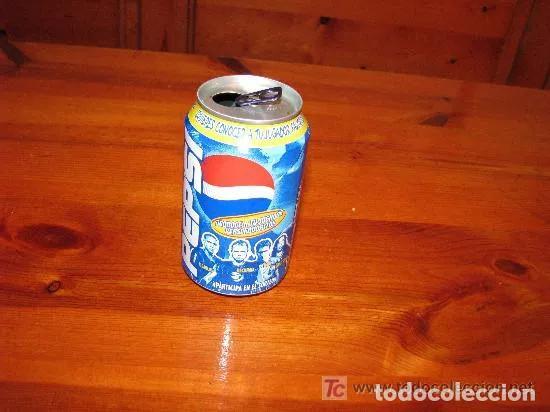 BOTE PEPSI / R.CARLOS-BECKHAM-RAUL -RONALDINHO /// REAL MADRID -BARCELONA FUTBOL (Coleccionismo Deportivo - Merchandising y Mascotas - Futbol)