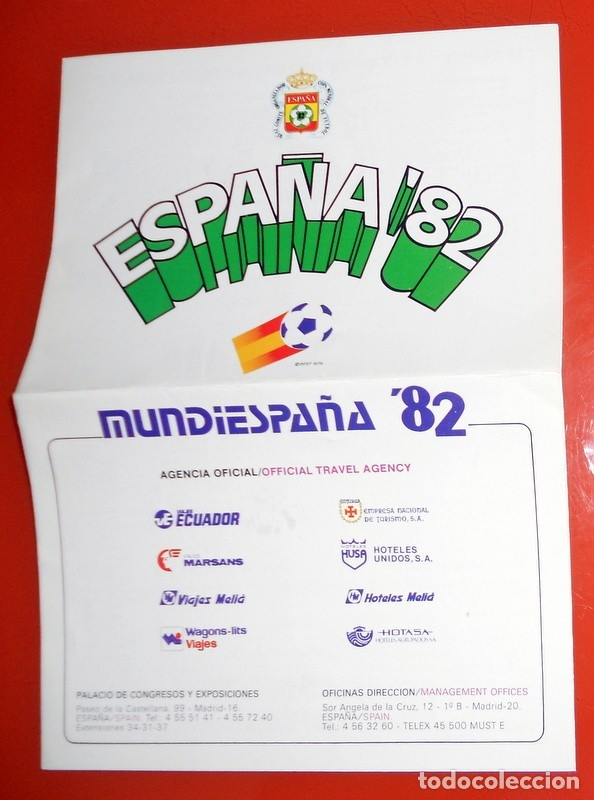 PUBLICIDAD PAQUETES TURÍSTICOS MUNDIESPAÑA 82 CAMPEONATO MUNDIAL FÚTBOL ESPAÑA 82 - CALENDARIO - (Coleccionismo Deportivo - Merchandising y Mascotas - Futbol)