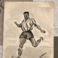 Coleccionismo deportivo: FUTBOLISTA LARBI BEN BARECK PINTURA ALFREDO ENGUIX ORIGINAL FUTBOL ACUARELA AGUADA CALIDAD 1950. Lote 173905118