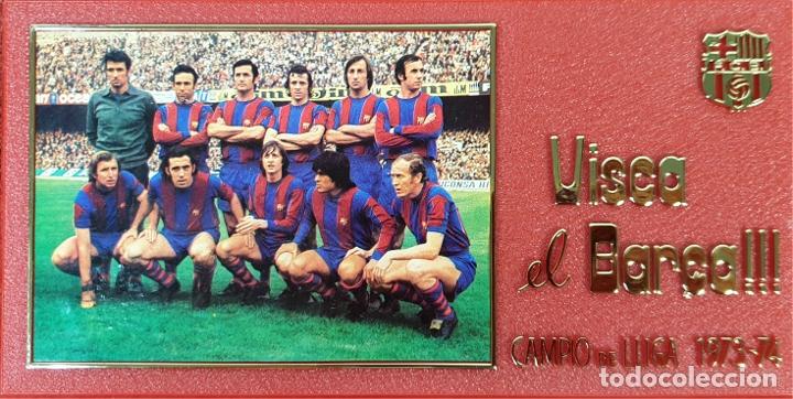 PLACA DEL 75 ANIVERSARIO DEL BARÇA. LIGA 1973-74. RESINA. 1974. (Coleccionismo Deportivo - Merchandising y Mascotas - Futbol)