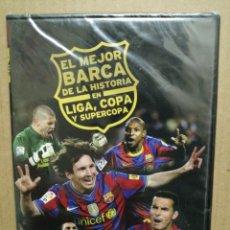 Coleccionismo deportivo: DVD PRECINTADO EL MEJOR BARCELONA DE LA HISORIA LIGA COPA Y SUPERCOPA. Lote 182918951
