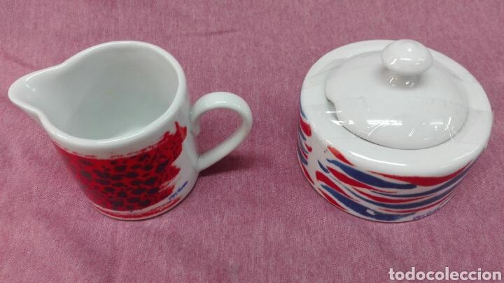 Coleccionismo deportivo: Juego de café de porcelana del F.C. Barcelona - Foto 3 - 183554740