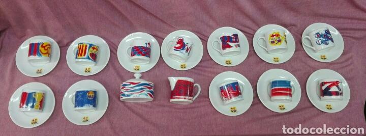 Coleccionismo deportivo: Juego de café de porcelana del F.C. Barcelona - Foto 5 - 183554740