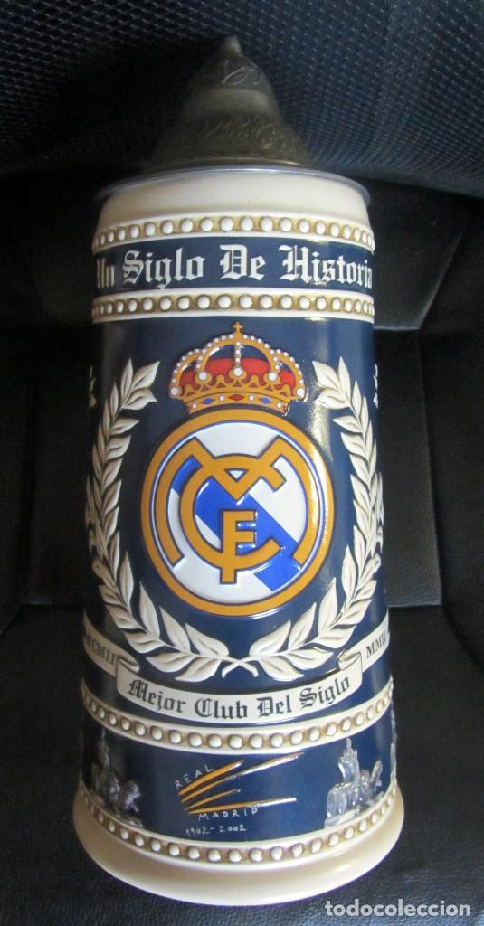 JARRA CERVEZA CENTENARIO REAL MADRID BEER PRODUCTO OFICIAL GRAN TAMAÑO CERAMARTE MADE IN BRASIL (Coleccionismo Deportivo - Merchandising y Mascotas - Futbol)