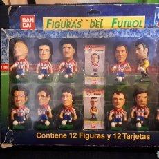 Coleccionismo deportivo: ANTIGUA CAJA JUGADORES FUTBOL CABEZONES ATLETI DE MADRID BANDAI COMPLETA AÑO 1996. Lote 195771727