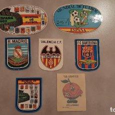 Coleccionismo deportivo: LOTE PEGATINAS ADHESIVOS MUNDIAL DE FUTBOL ESPAÑA 82 NARANJITO 1982 REAL MADRID BARCELONA VALENCIA. Lote 189741131