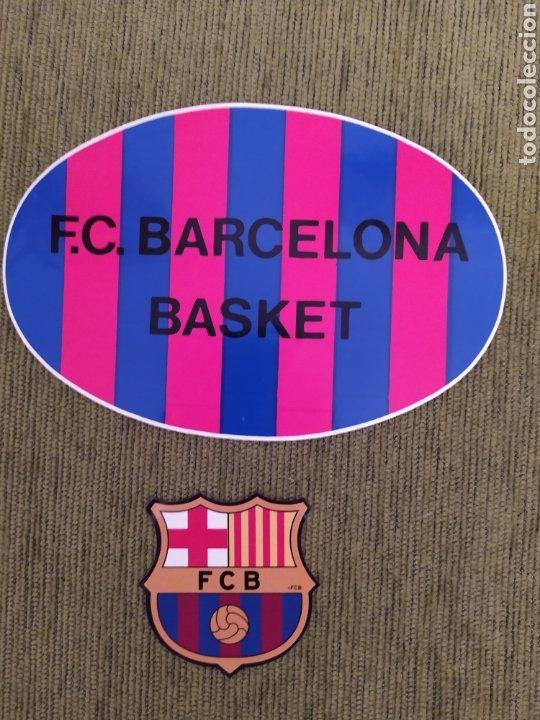 2 PEGATINAS. ESCUDO BARÇA Y BASKET FC BARCELONA. (Coleccionismo Deportivo - Merchandising y Mascotas - Futbol)