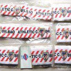Coleccionismo deportivo: LOTE ATHLETIC CLUB BILBAO 2 CINTAS DE PELO Y 5 MUÑEQUERAS SIN ESTRENAR EN SU BOLSA SET. Lote 191190048