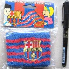 Colecionismo desportivo: LOTE FC BARCELONA 11 MUÑEQUERAS COLETERO ANTIGUOS CON LICENCIA A ESTRENAR + 1 BRAZALETE. Lote 191191013