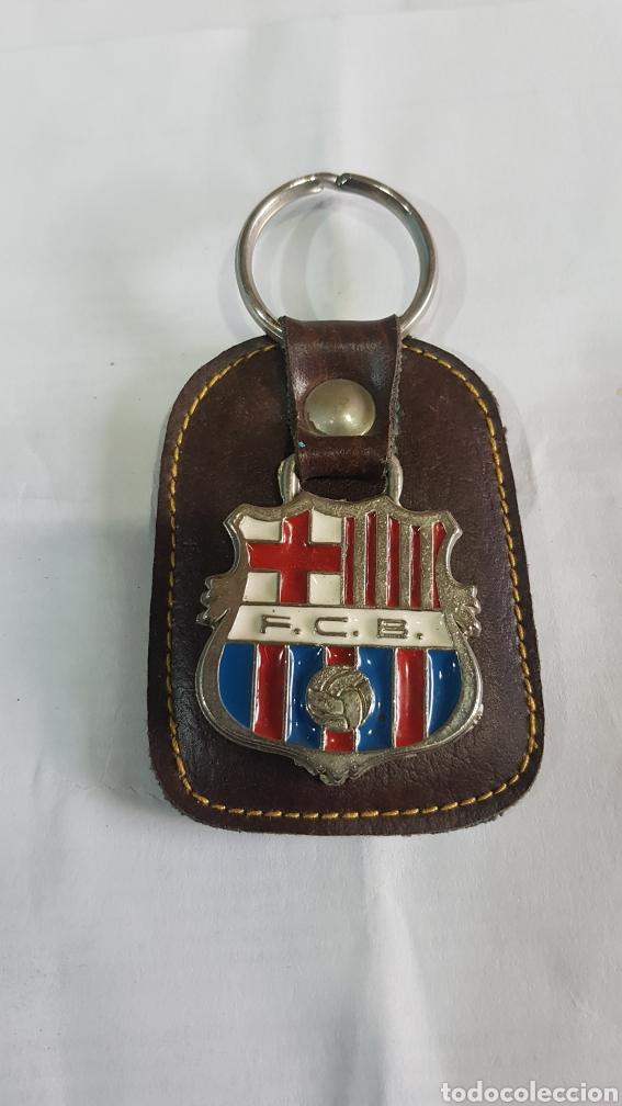 LLAVERO EN PIEL F. C. BARCELONA (Coleccionismo Deportivo - Merchandising y Mascotas - Futbol)