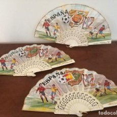 Coleccionismo deportivo: LOTE DE 3 ABANICOS DIFERENTES MUNDIAL 82 NARANJITO COMO NUEVOS. Lote 194210838