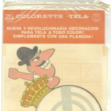 Coleccionismo deportivo: REAL MADRID - PEGATINA PARA TELA CON PLANCHA COLORETTE AÑOS 70 SIN ABRIR. Lote 197264886