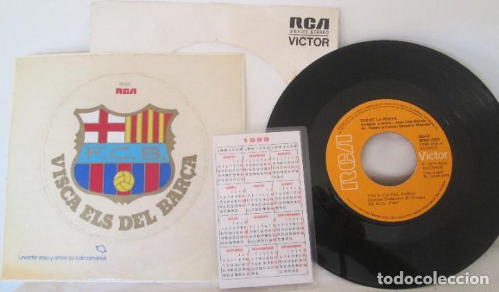 Coleccionismo deportivo: Disco RCA Victor Visca Els del Barca de 1974 y calendario tricampeón 1999 - Foto 2 - 197452345